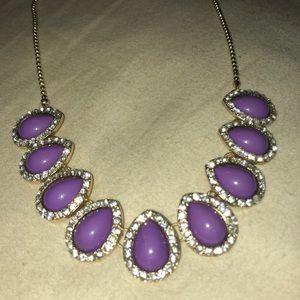 stony Jewelry - Purple & Rhinestone Statement Necklace